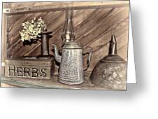 Herbs Bw Greeting Card