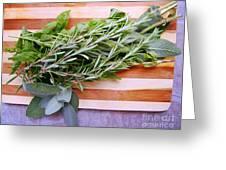 Herbs On Cutting Board Greeting Card