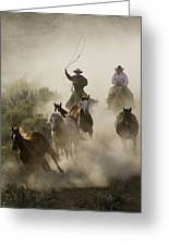 Herding Horses Oregon Greeting Card