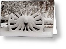 Heritage Wagon Wheel After A Winter Snow Storm Greeting Card