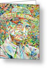 Hermann Hesse With Hat Watercolor Portrait Greeting Card