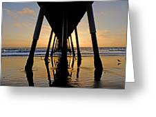 Hermosa Pier At Sunset Greeting Card