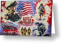Heroes American Firefighters Greeting Card