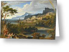 Heroic Landscape With Rainbow Greeting Card
