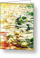 Heron Among Lillies Photography Light Leaks Greeting Card by Chris Andruskiewicz