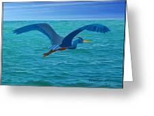 Heron Flying Over Ocean Greeting Card