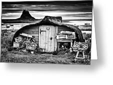 Herring Boat Hut Lindisfarne Monochrome Greeting Card