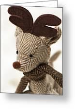 Herringbone Reindeer Greeting Card by Anne Gilbert