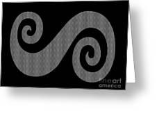 Herringbone Swirl On Black Greeting Card