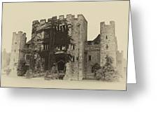 Hever Castle Yellow Plate Greeting Card
