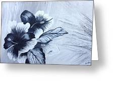Hibiscus  Black And White Greeting Card