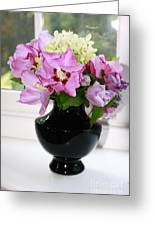 Hibiscus And Hydrangea Flower Greeting Card