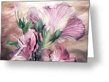 Hibiscus Sky - Pastel Pink Tones Greeting Card