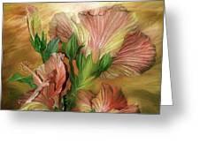 Hibiscus Sky - Peach And Yellow Tones Greeting Card