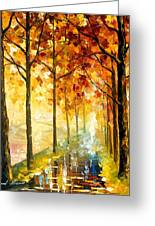 Hidden Path - Palette Knife Oil Painting On Canvas By Leonid Afremov Greeting Card