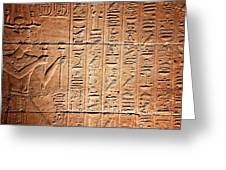 Hieroglyphs In The Temple Of Kalabsha  Greeting Card