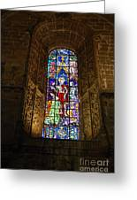 Hieronymites Monastery Chapel Vitral In Lisbon Greeting Card