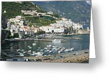 High Angle View Of A Town, Amalfi Greeting Card