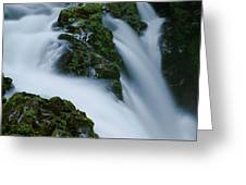 High Angle View Of A Waterfall, Sol Duc Greeting Card