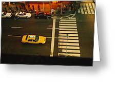 High Angle View Of Cars At A Zebra Greeting Card