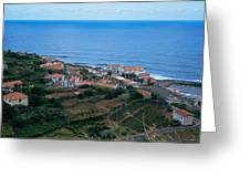 High Angle View Of Houses At A Coast Greeting Card
