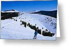 High Angle View Of Skiers Skiing, Vail Greeting Card
