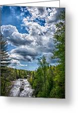 High Falls Bright Clouds Greeting Card