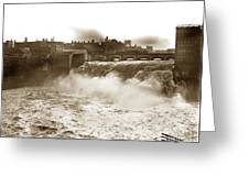 High Falls On The Genesee River Rochester New York At Flood Stage Circa 1904 Greeting Card