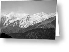 High Himalayas - Black And White Greeting Card