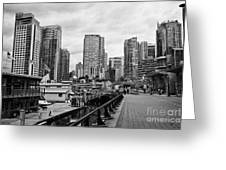 high rise apartment condo blocks in the west end coal harbour marina Vancouver BC Canada Greeting Card