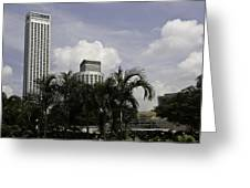 High Rise Buildings Behind Trees Along With Construction Work In Singapore Greeting Card
