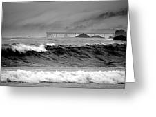 High Seas By The Pier Greeting Card