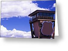 High Section View Of Railroad Tower Greeting Card