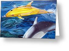 High Tech Dolphins Greeting Card by Thomas J Herring