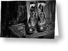 High Top Shoes - Bw Greeting Card