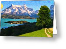 Highlands Of Chile  Lago Pehoe In Torres Del Paine Chile Greeting Card