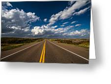 Highway Life - Blue Sky Down The Road In Oklahoma Greeting Card