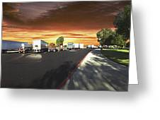 Highway Truck Stop Sunset Panorama Greeting Card