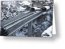 Higway Tunnel With A Bridge Greeting Card