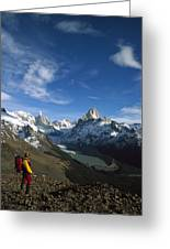 Hiker Admiring Cerro Torre And Fitzroy Greeting Card