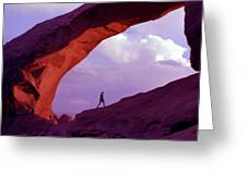 Hiker Beneath Arch Greeting Card
