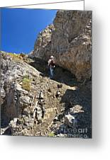 hiker in Dolomites Greeting Card