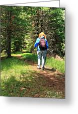 Hiker In The Forest Greeting Card