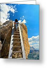 Hiker On Wooden Staircase Greeting Card