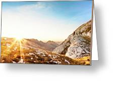 Hiker Standing On Rock Formation Greeting Card