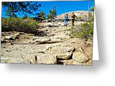 Hikers On Sentinel Dome Trail In Yosemite Np-ca  Greeting Card