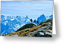 Hiking Above Chamonix On The Lac Blanc Trail Greeting Card