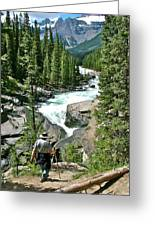 Hiking In Mistaya Canyon Along Icefield Parkway In Alberta Greeting Card