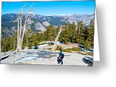 Hiking On Barren Rock On Sentinel Dome In Yosemite Np-ca Greeting Card