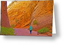 Hiking On Capitol Gorge Pioneer Trail In Capitol Reef National Park-utah Greeting Card